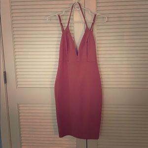 Mauve body-con Mini dress